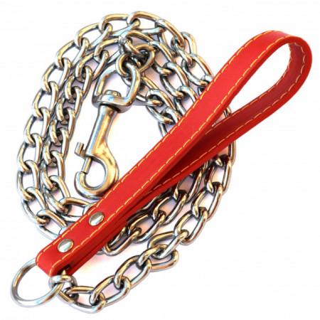 Lesa pentru caini de talie mare din lant cu maner rosu.