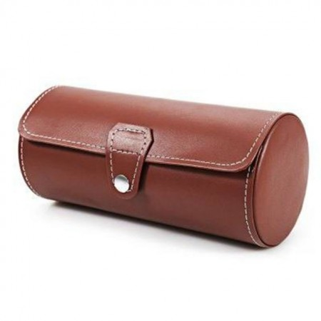 Pachet cutie caseta depozitare si transport din piele ecologica pentru 3 ceasuri + 1 ceas barbatesc elegant DEEP RED, curea maro, Pufo
