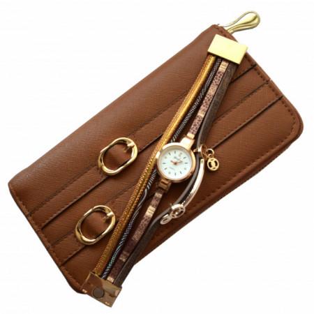 Pachet portofel elegant de dama cu fermoar maro + ceas maro cu inchizatoare tip bratara