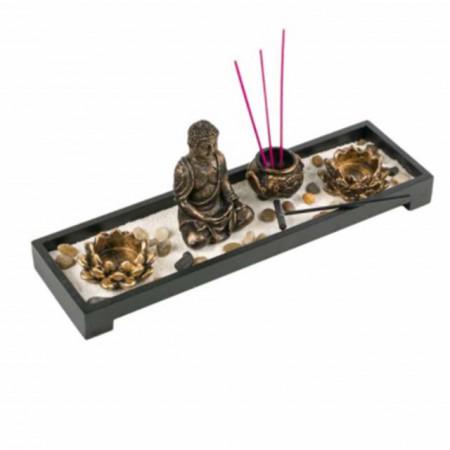 tava decorativa pentru lumanari mici cu buddha