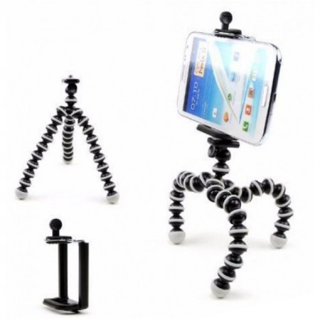 Trepied flexibil cu suport pentru telefon mobil sau aparat foto, Pufo