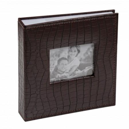 album foto cu coperta maro, model piele de crocodil