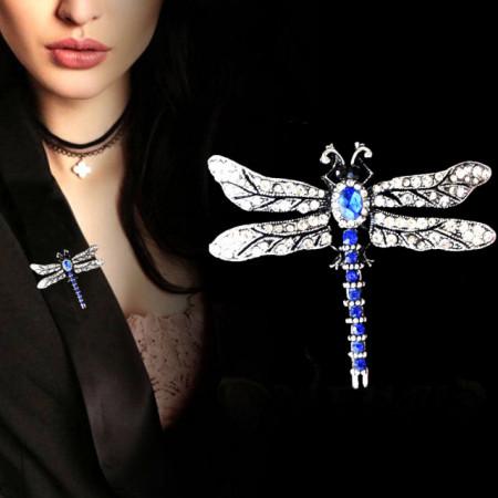 Brosa dama eleganta in forma de libelula cu pietricele, Blue dragon-fly