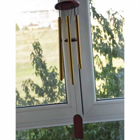 Clopotel de vant cu 6 tuburi sonore metalice aurii pentru casa sau gradina, model Feng-Shui