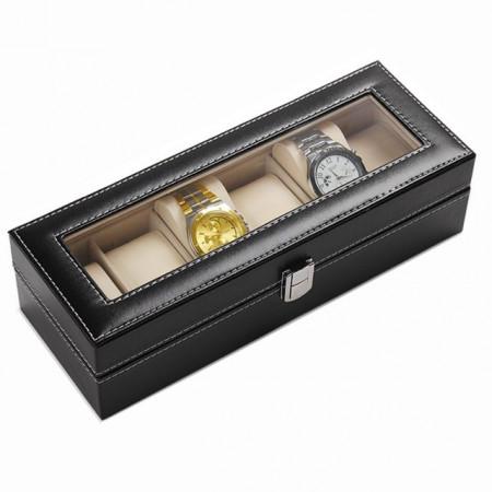 Cutie caseta eleganta depozitare cu compartimente pentru 6 Ceasuri