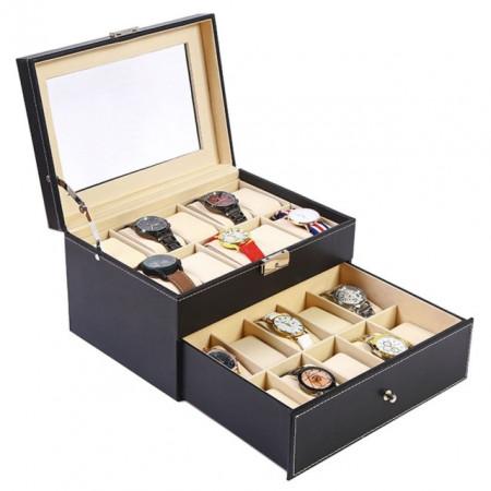 Cutie caseta eleganta depozitare cu sertar si compartimente pentru 20 Ceasuri, negru