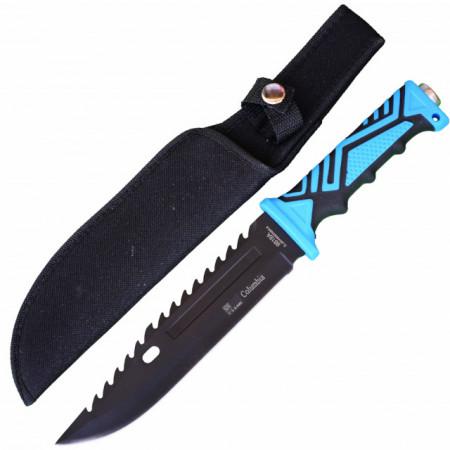 Cutit de vanatoare 32 cm, maner ergonomic, teaca inclusa, negru cu albastru