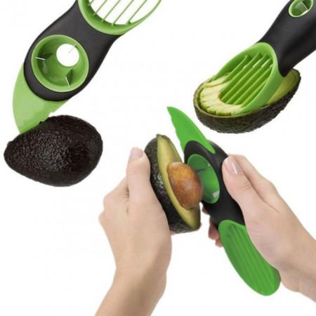 Cutit special Pufo 3 in 1 pentru curatat si feliat avocado