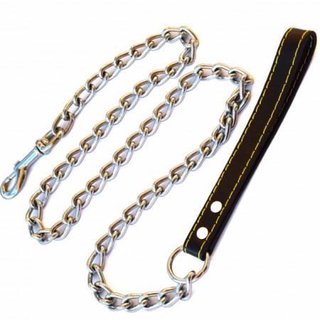 Lesa pentru caini de talie mare din lant cu maner negru.