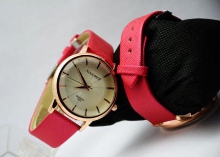 Pachet portofel elegant de dama - rosu + ceas elegant de dama PINK LAWYER