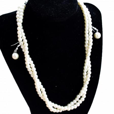 Set elegant colier si cercei cu perle acrilice albe, model rasucit