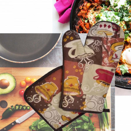 Set manusa de bucatarie pentru gratar sau cuptor si suport pentru vase fierbinti, maro
