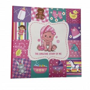 Album foto Pufo, model Baby Amazing story, 200 poze, 22 x 22 cm, roz