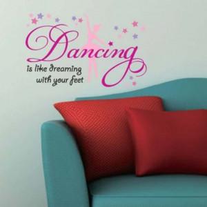 Autocolant sticker decorativ Pufo pentru perete cu mesaj, Pufo Ballerina Dancing, 50 x 32 cm