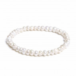 Bratara perle naturale de cultura albe, model Shape pearl