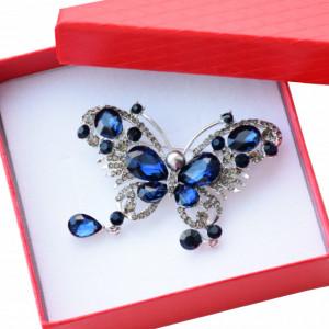 Brosa dama eleganta in forma de fluture cu pietricele, Glam blue butterfly