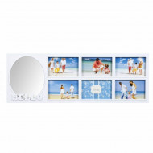 Cadru rama foto Pufo Hello Friends, 6 poze, alb, 65 x 20 cm