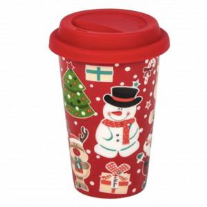 Cana ceramica Pufo model Christmas Vibe pentru cafea cu capac din silicon, 400 ml