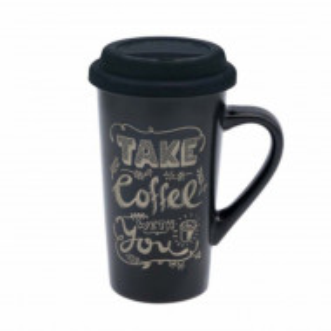 Cana ceramica Pufo pentru cafea sau ceai cu capac din silicon, model Take coffee