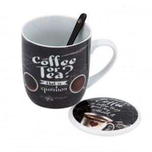 Cana din portelan pentru cafea sau ceai cu lingurita, 355ml, Pufo