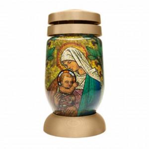 Candela din sticla cu Maica Domnului si pruncul Iisus, model vitraliu