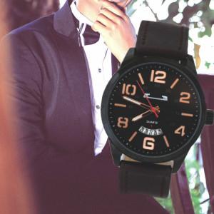 Ceas barbatesc MATTEO FERARI casual-elegant, design italian, afisare data, negru, curea maro
