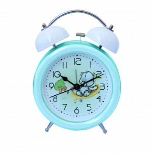 Ceas de masa desteptator pentru copii Pufo Joy, cu buton de iluminare cadran, 16 cm, model Teddy Bear