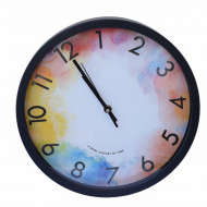 Ceas decorativ de perete Pufo Colourful, 30 cm, negru