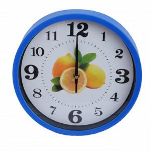 Ceas decorativ de perete Pufo Fruits, model Lemon, 25 cm, albastru