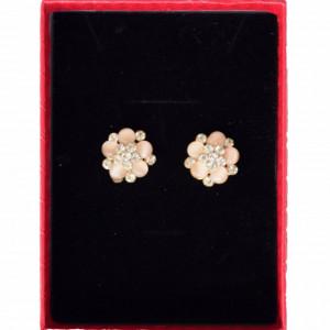 Cercei eleganti de dama in forma de floare cu pietricele, tip clips, model piersica