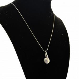 Colier elegant de dama Pufo cu pandantiv, argintiu