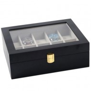 Cutie caseta din lemn pentru depozitare si organizare 10 ceasuri, model Pufo Premium, negru