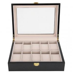 Cutie caseta din lemn pentru depozitare si organizare 10 ceasuri, model Pufo Luxury
