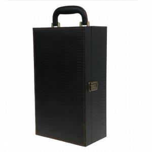 Cutie caseta eleganta cu 2 compartimente pentru sticle de vin, cu maner si 4 accesorii incluse, 35 x 20 cm, negru