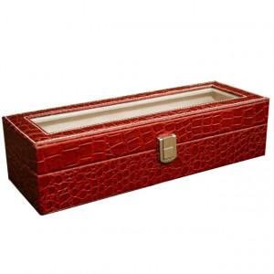 Cutie caseta eleganta depozitare cu compartimente pentru 6 ceasuri, imprimeu crocodil, rosu