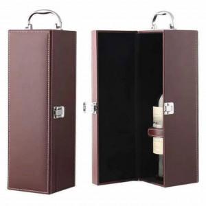 Cutie caseta eleganta pentru sticla, cu maner si set de 4 accesorii pentru vin incluse, model clasic, maro, Pufo