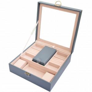 Cutie caseta eleganta Pufo Glamour cu oglinda pentru depozitare si organizare bijuterii, albastru