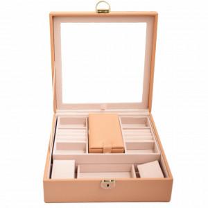 Cutie caseta eleganta Pufo Glamour cu oglinda pentru depozitare si organizare bijuterii, maro