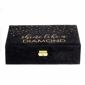 Cutie caseta eleganta Pufo Luxury Velvet pentru organizare si depozitare bijuterii din catifea, 30 x 20 cm, negru