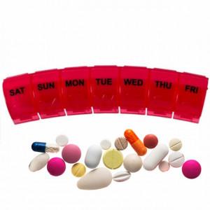 Cutie organizator medicamente pe saptamana cu compartimente pe zi, Pufo