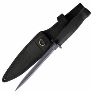 Cutit tactic 28.5 cm cu lama dubla si varf ascutit, maner ergonomic, teaca inclusa, model Premium, negru