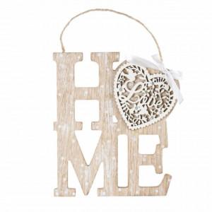 Decoratiune Pufo din lemn cu agatatoare, model Home love, 20 cm