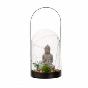 Felinar Feng Shui decorativ Buddha din sticla, cu LED, 20 x 13 cm