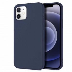 Husa de protectie iPhone 12 cu interior din catifea, silicon, albastru