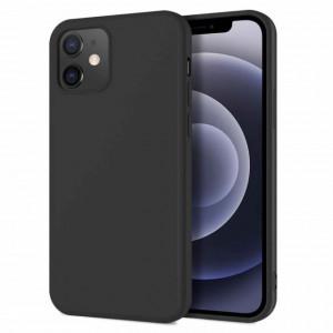 Husa de protectie iPhone 12 cu interior din catifea, silicon, negru