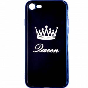 Husa telefon din silicon pentru iPhone 8, Queen, neagra