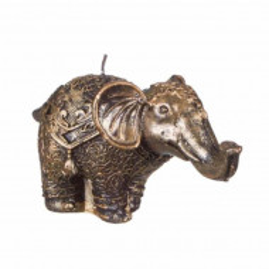 Lumanare decorativa maro-auriu, model elefant, Pufo
