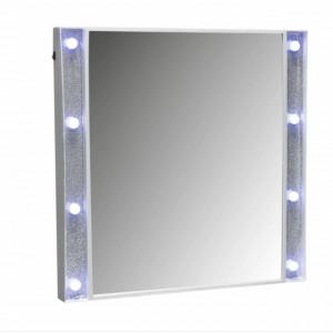 Oglinda de perete Pufo Shine potrivita pentru cosmetica, cu 8 leduri, 50 x 50 cm