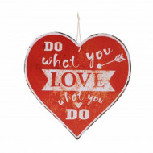 Panou decorativ metalic Pufo in forma de inima, 30 cm