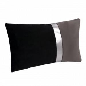 Perna decorativa catifelata bicolora Pufo Double Colour cu fermoar, negru/gri, 30 x 50 cm
